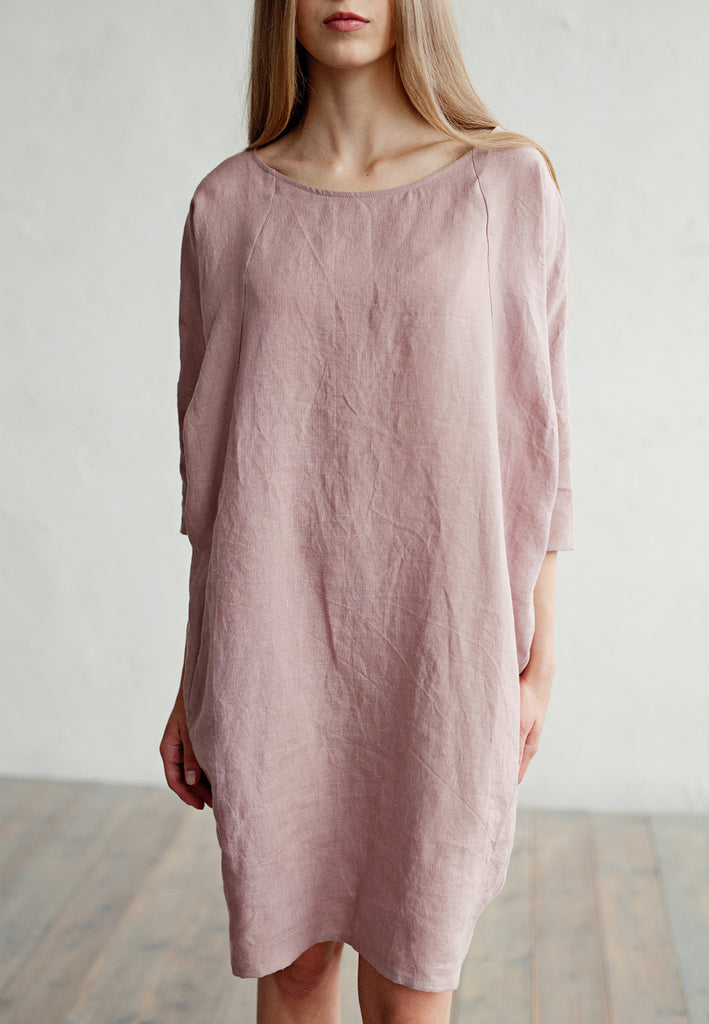 Soft pure linen tunic in woodrose