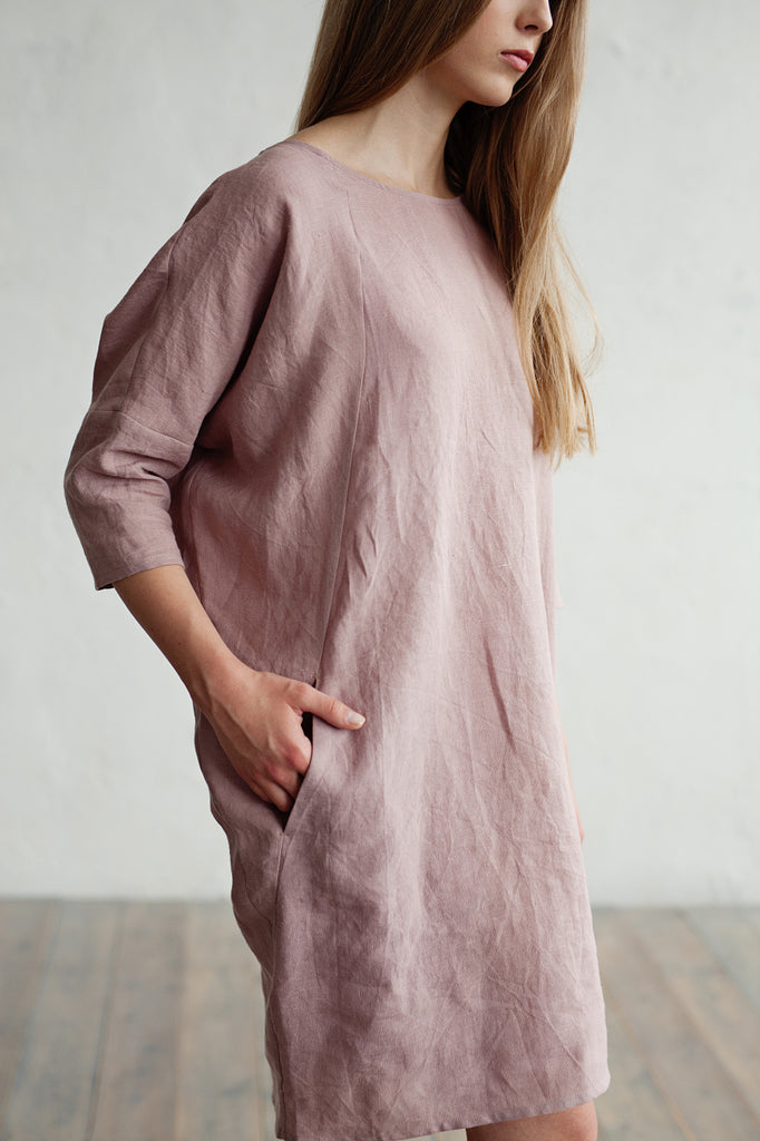 Softened flax summer dress in dusty purple color