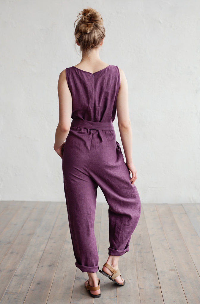Stonewashed linen overall suit in purple