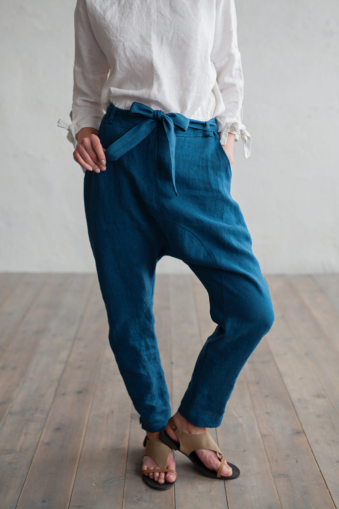 Soft pure linen loose fitted pants in blue color