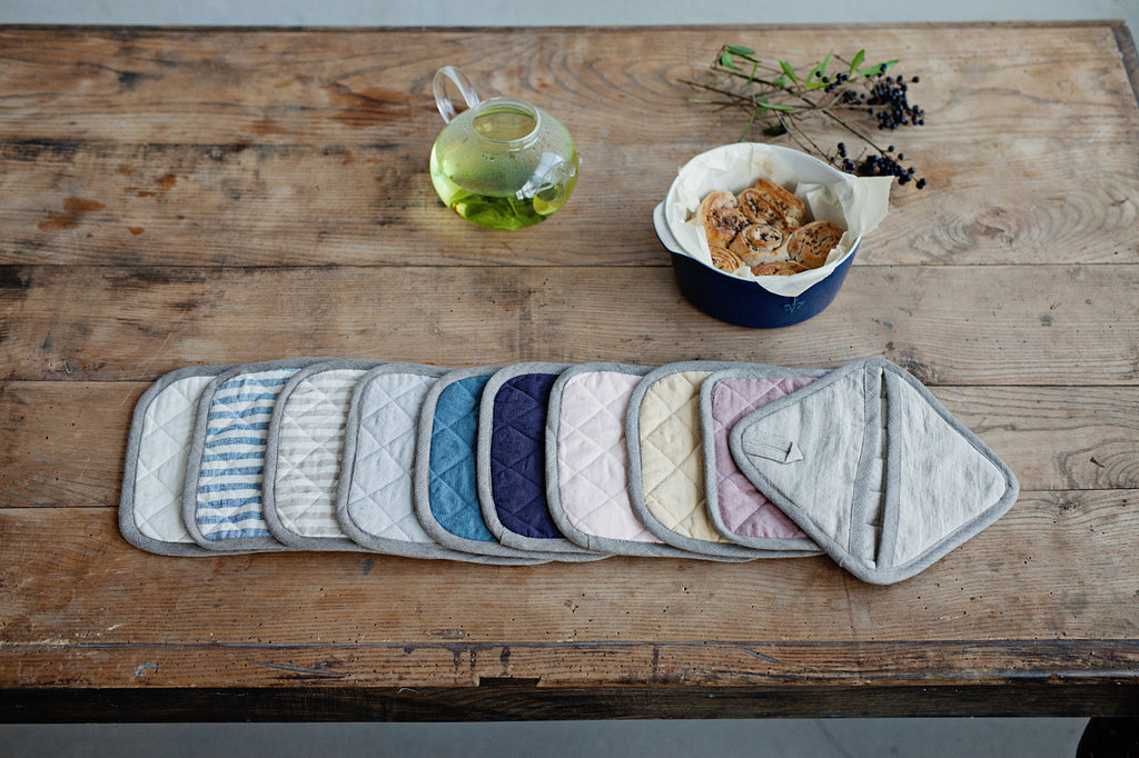 Softened linen potholders in 12 colors
