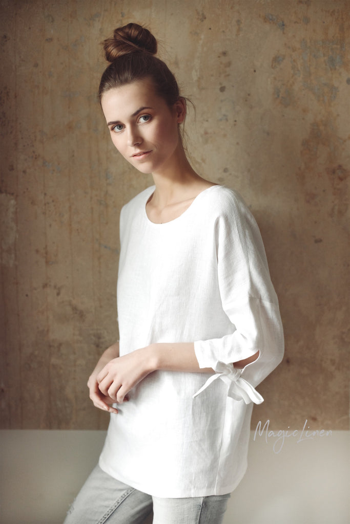 Linen Top With Tie Sleeves in Various Colours RIBERA