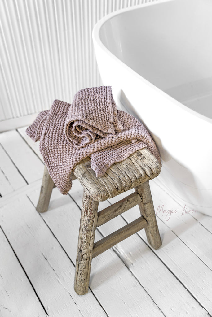 Stonewashed linen bath towels in dusty rose gift set for women her
