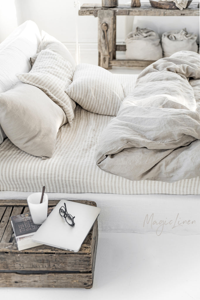 Washed beige gray linen bedding