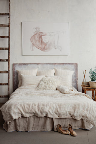 Striped In Natural And White Linen Duvet Cover