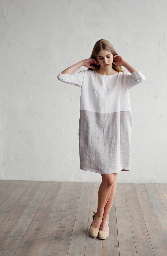 Casual washed linen dress in 2 colors L size