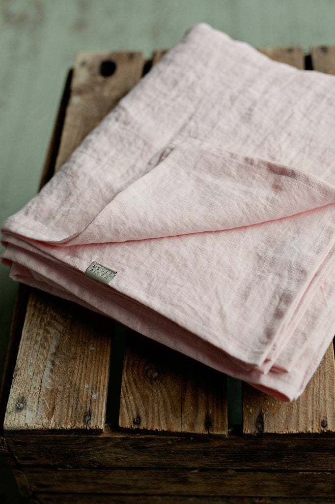 Baby pink softened linen flat sheet single double king size