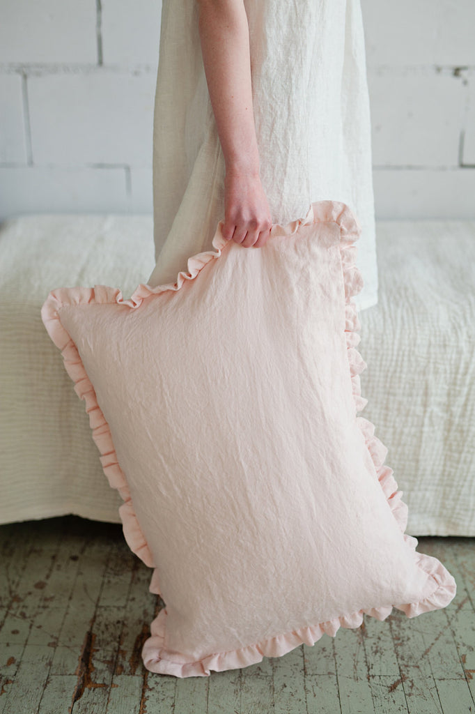 Light pink linen pillow case with ruffles
