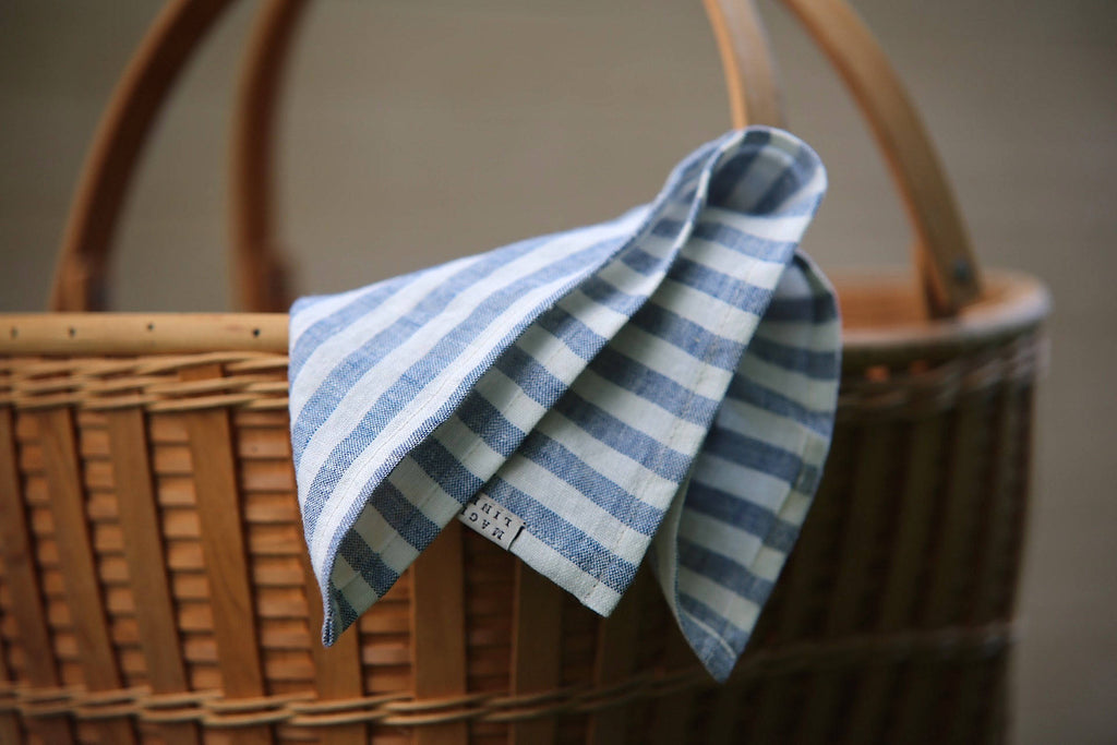 Rustic washable linen striped in navy blue napkins set of 10