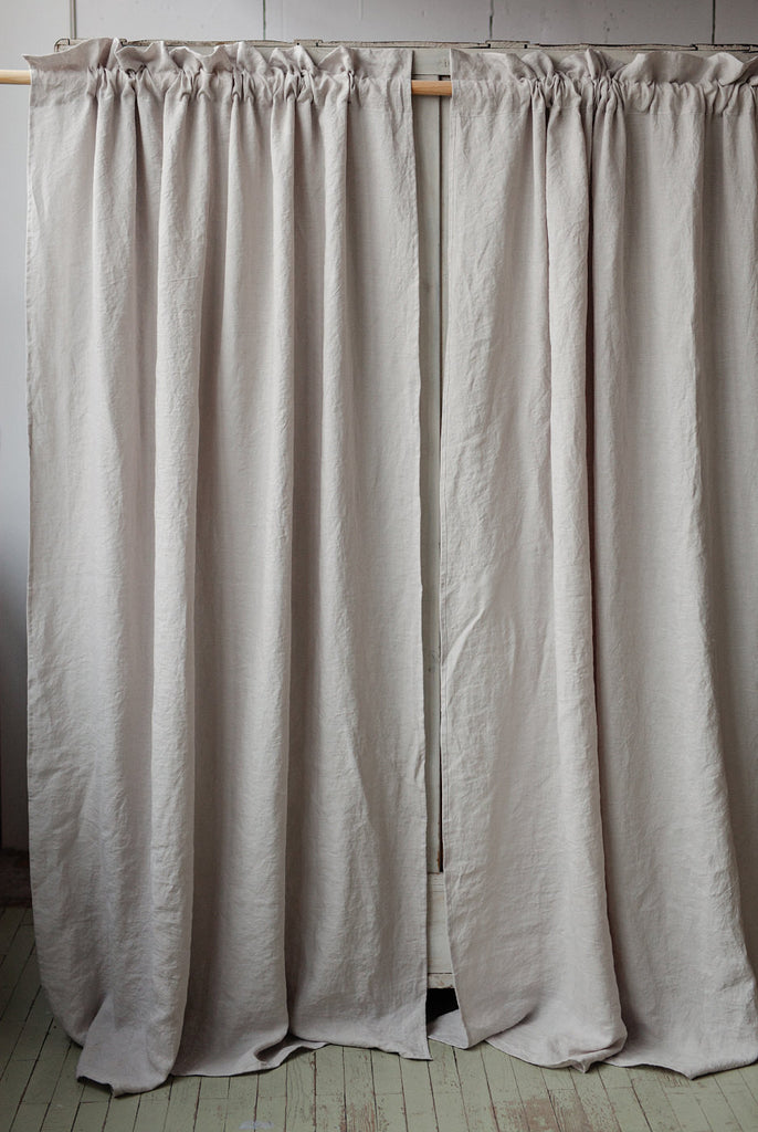 Stonewashed linen living room drapes with rod pocket
