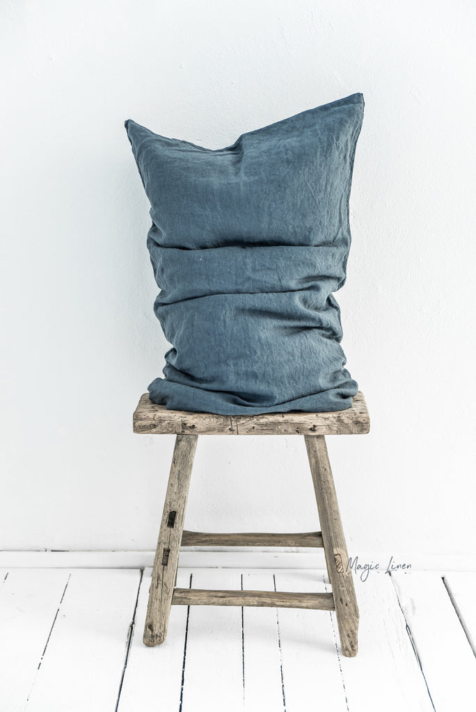 Grey blue linen pillow case