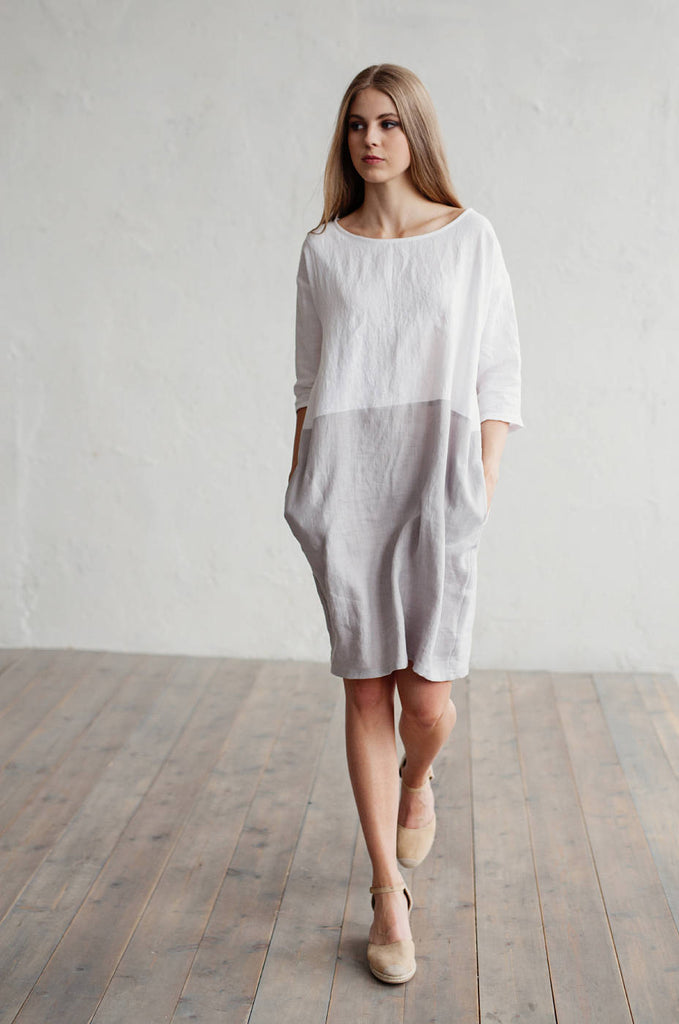 Oversized linen clothing, linen dress in white and grey L XL sizs