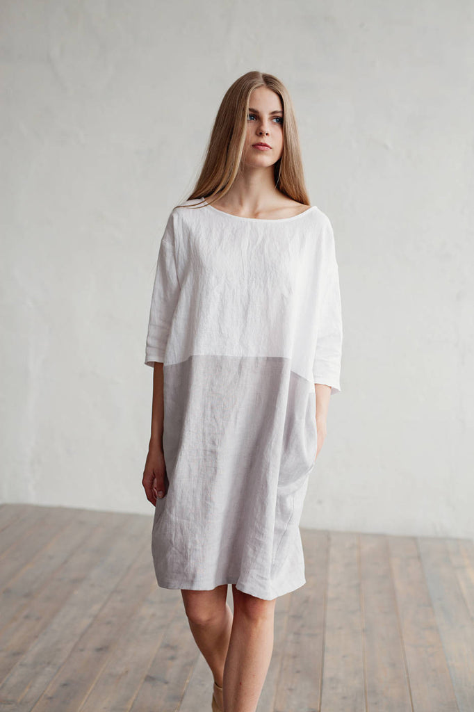 Loose shape linen summer dress with sleeves in white and grey XS S M sizs