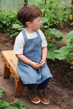 Pure linen children apron for 2 or 4 years old kid