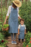 Stonewashed linen toddler apron with front pocket
