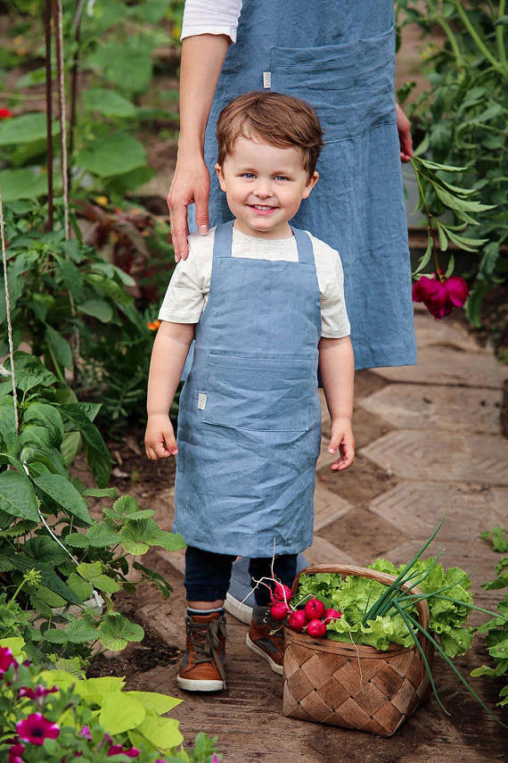 Linen kids apron in 12 colours
