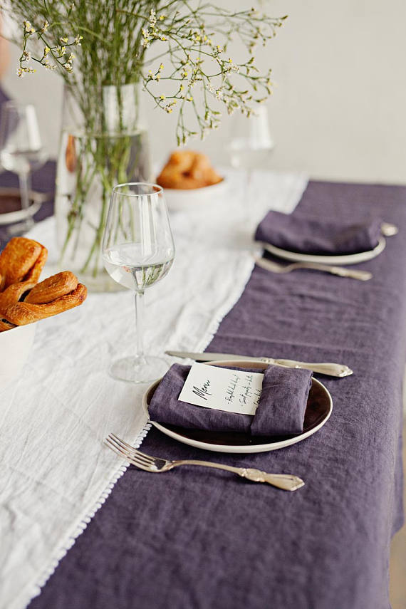 Washable linen Christmas Thanksgiving table linens in dark purple