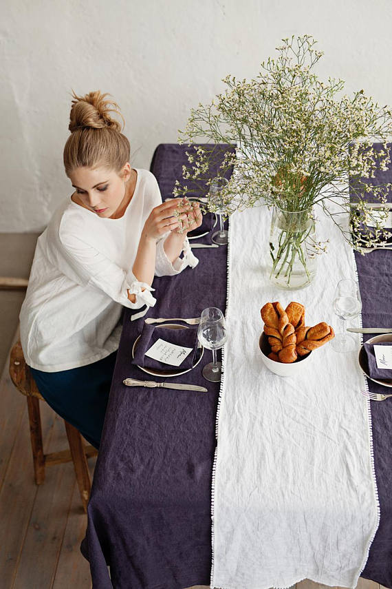 Washable linen dining tablecloth in royal purple