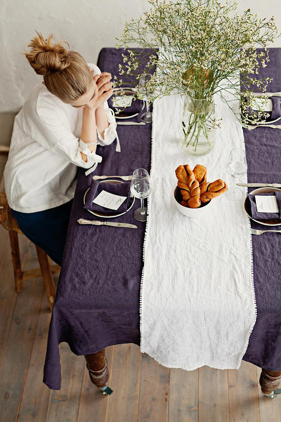 Softened linen coffee table cloth rustic style in plum color
