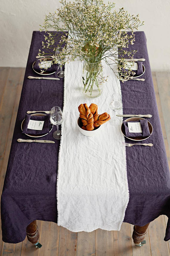 Pure linen Christmas dinner tablecloth in deep purple