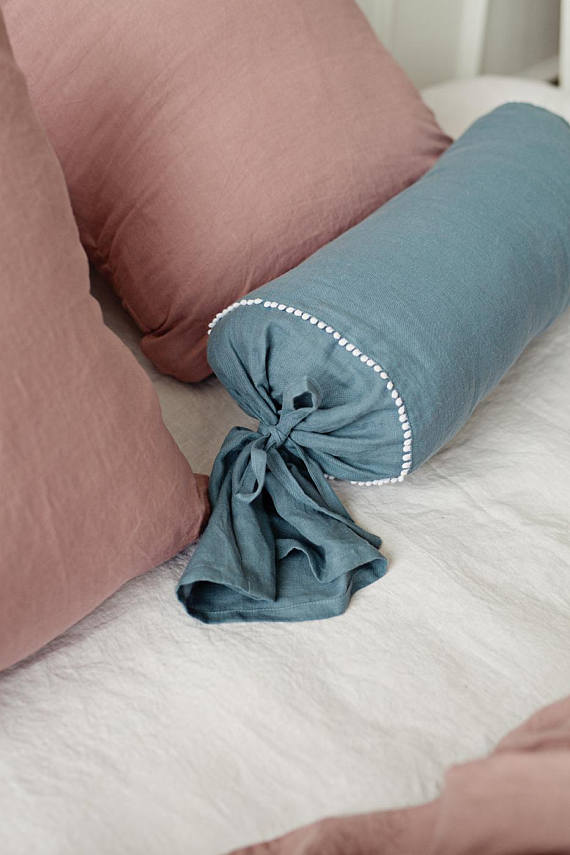 Stonewashed linen neck pillowcase in teal blue