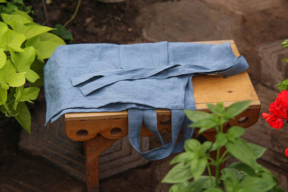 Washed flax toddlers apron for 7 or 10 years old kid