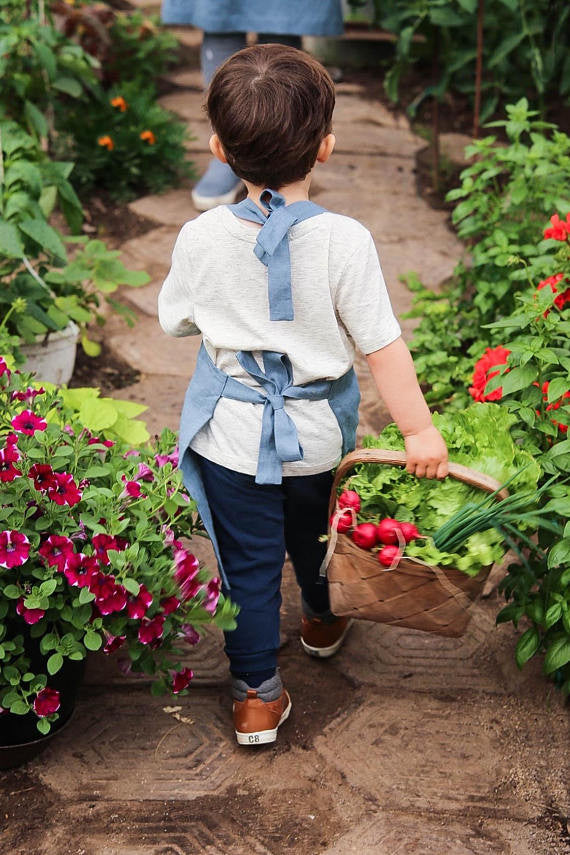 Softened linen boys apron for 4 or 7 years old boy
