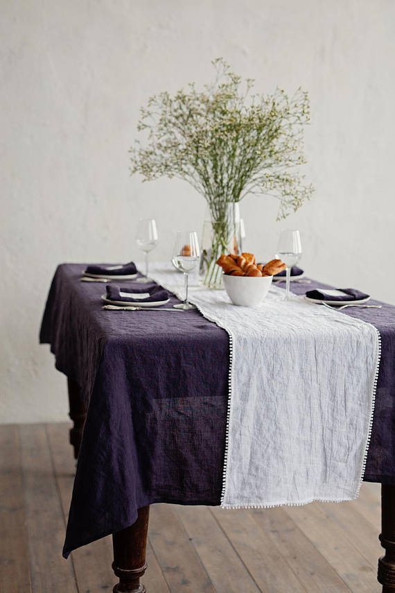 Stonewashed washable rustic linen dining violet table cover