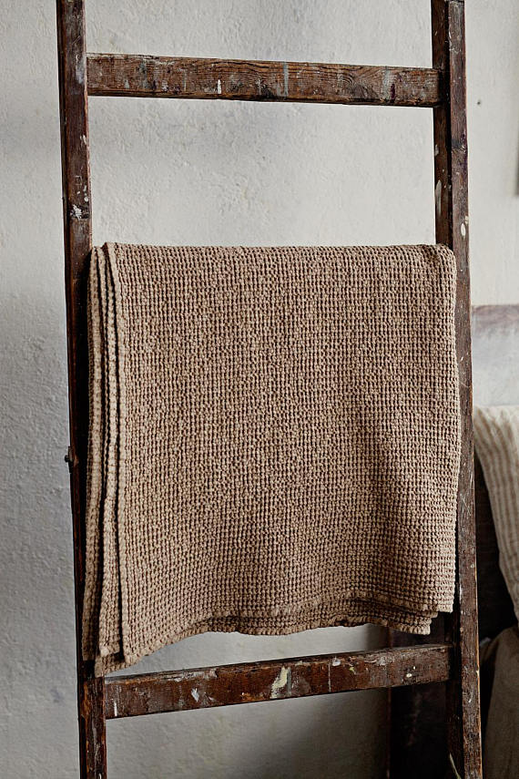 Softened linen waffle throw blankets