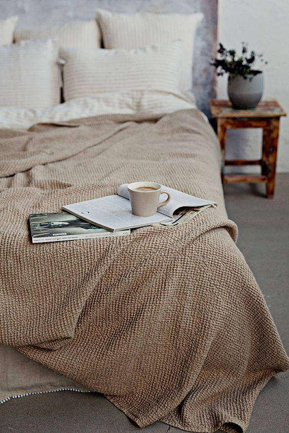 Soft waffle pattern linen bed throw in cappuccino beige