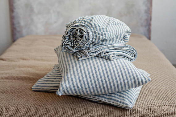 Washed linen bed sheet set queen size deep pocket striped in royal blue and white