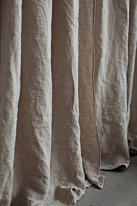 Soft pure linen window drapery in natural flax color for bedroom