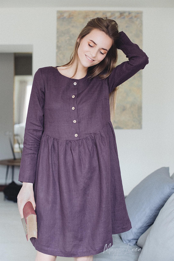 Long Sleeve Linen Dress LILLE in Various Colour
