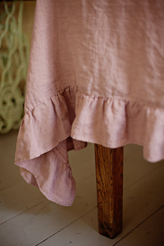Ruffled Linen Tablecloth In Various Colors