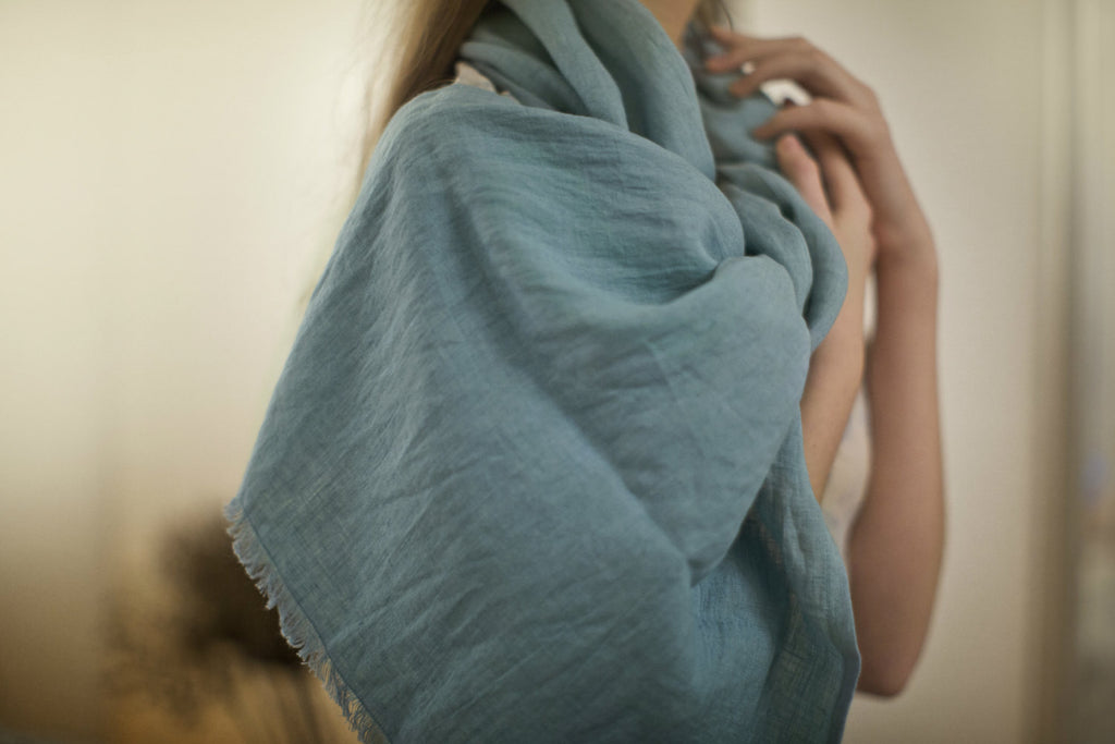 Aqua blue softened stonewashed linen women shawl