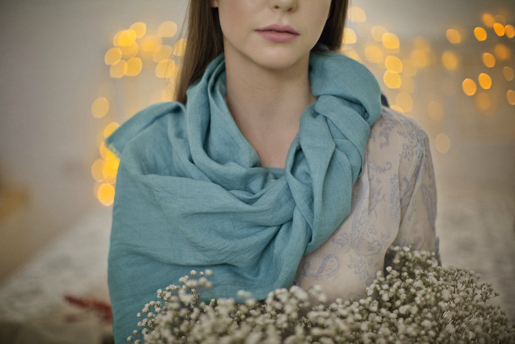 Teal blue softened stonewashed linen women scarf