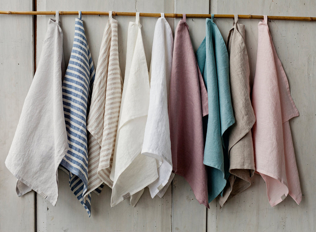 Stonewashed linen tea towel water absorbent different colors
