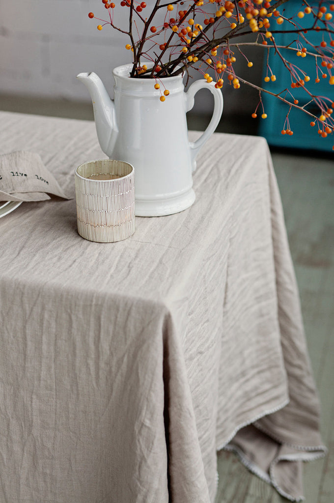Washable linen Christmas table linens in beige