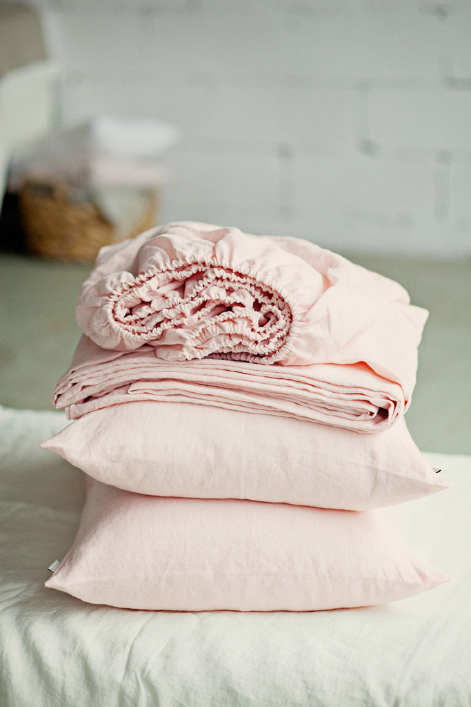 ... Light Pink Bed Sheet Set Of 4 Pieces ...