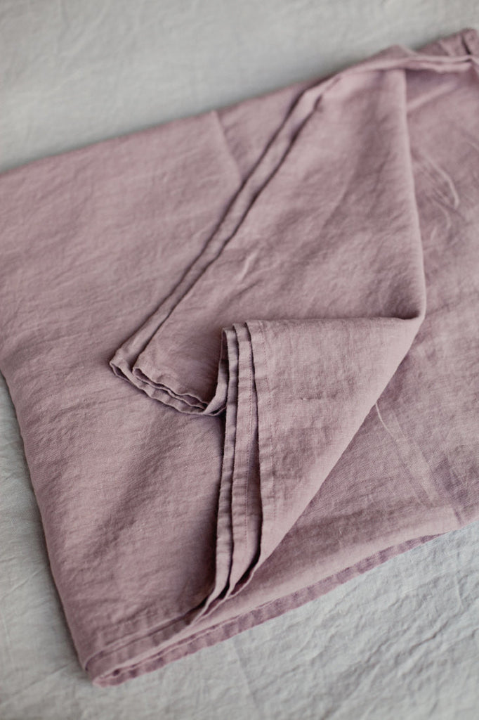 Mauve softened linen flat sheet single double king size