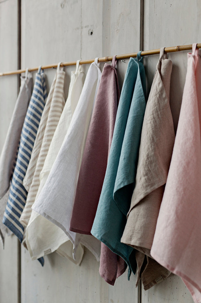 Stonewashed linen kitchen tea towel in 12 colours
