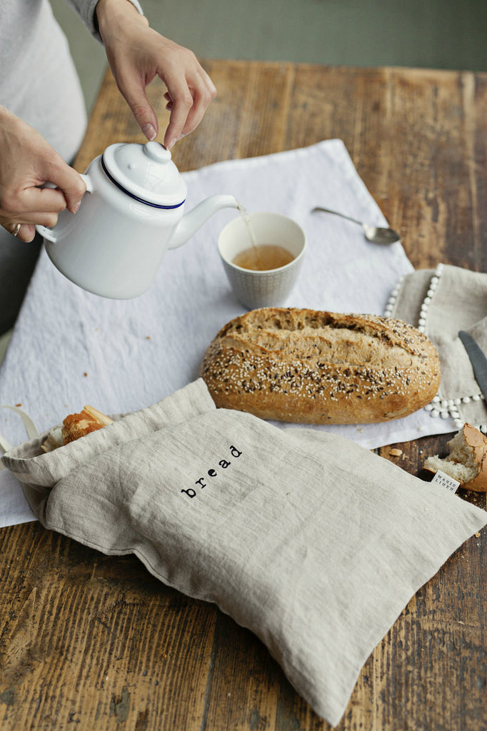 Natural linen bread bag with hand printed logo ,,bread""