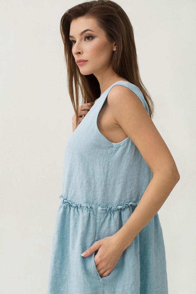 Softened linen baby blue dress with frills M L sizes
