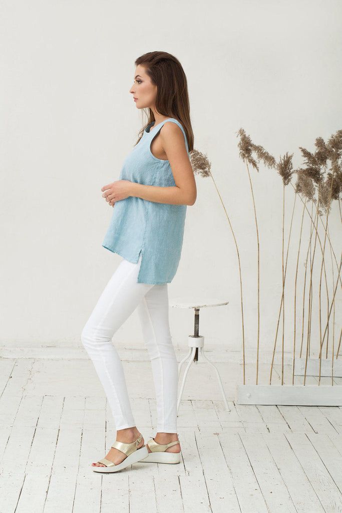 Slim stonewashed linen baby blue top M L sizes