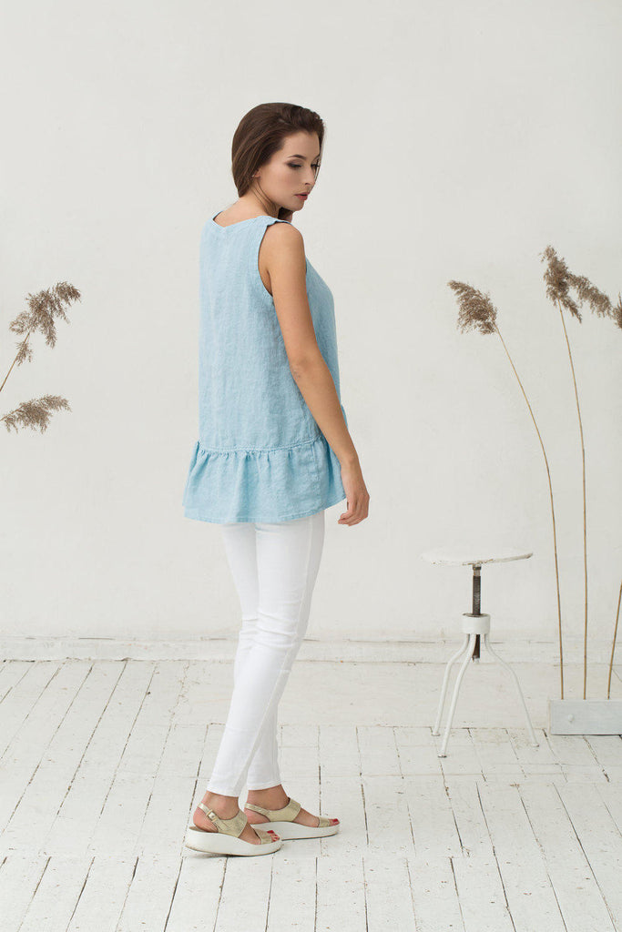 Stonewashed linen baby blue blouse with frills M L sizes
