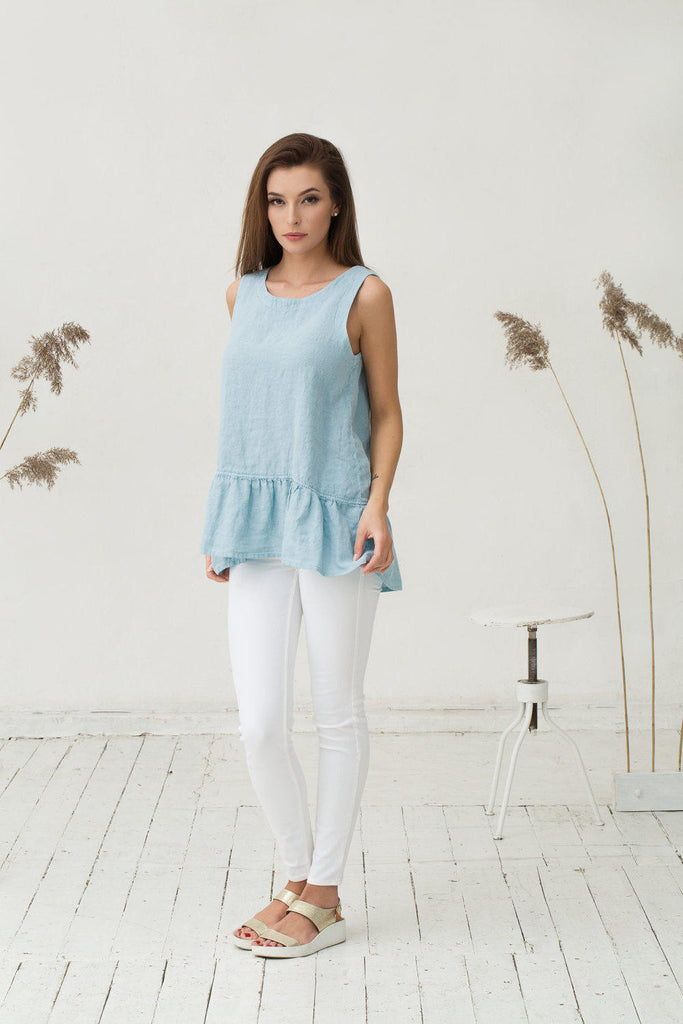Oversized pastel blue linen ruffled top XS S sizes