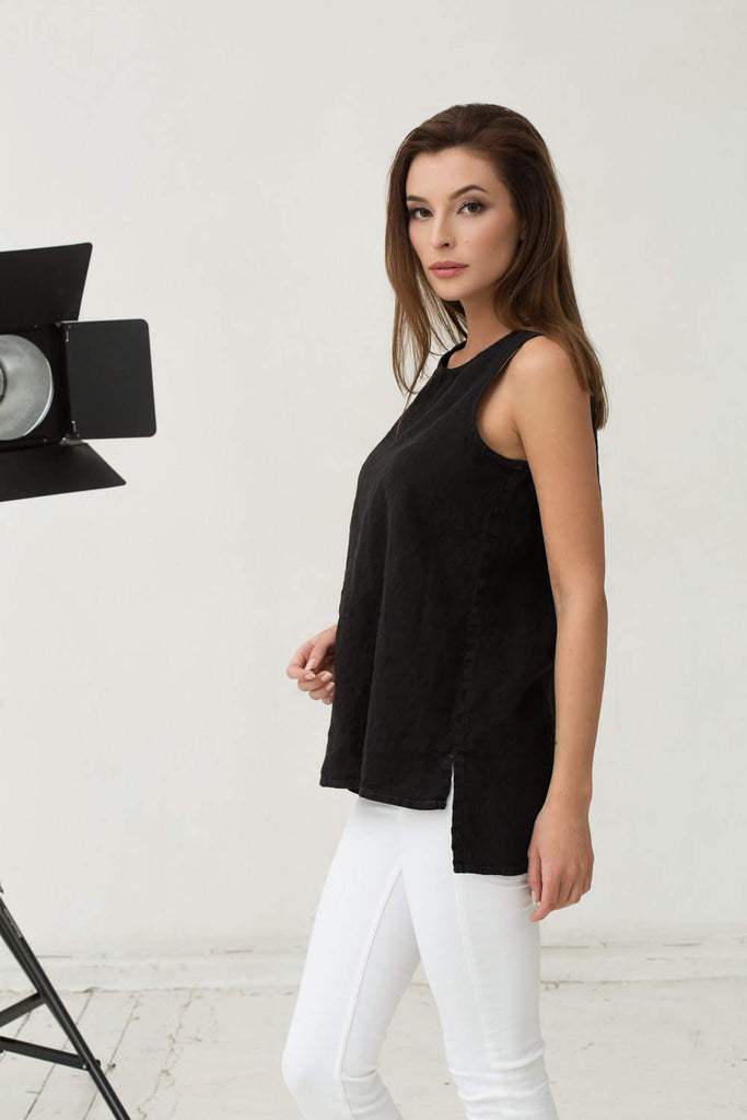 Slim stonewashed linen black top M L sizes
