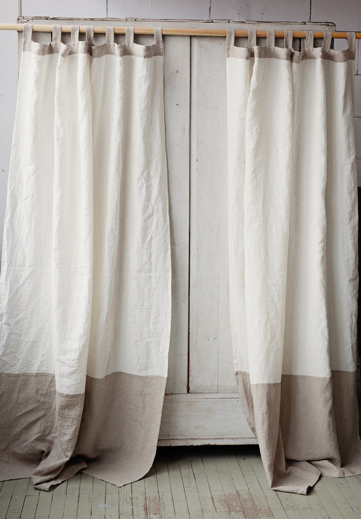 Stonewashed linen white and natural linen window coverings