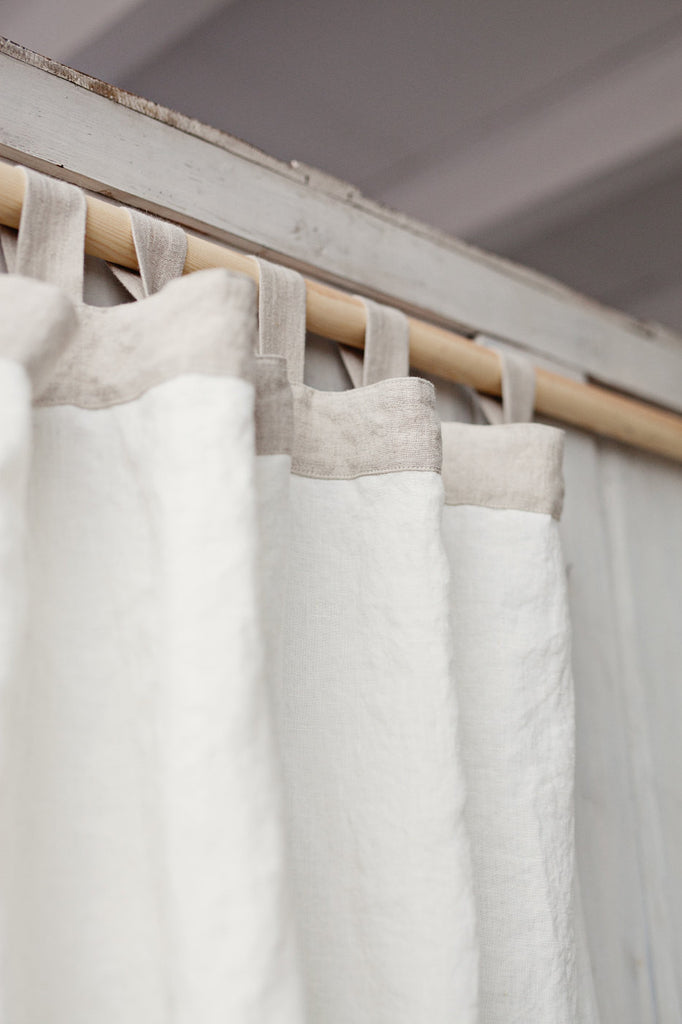 Softened linen white country curtains