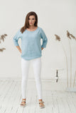 Oversized pastel blue linen blouse XS S sizes